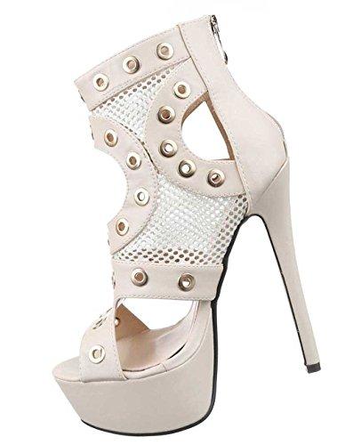 Damen-Schuhe Pumps | Frauen High Heels mit Plateau und 15 cm Stiletto-Absatz in verschiedenen Farben und Größen | Schuhcity24 | Sandaletten mit Ösen Verzierung | Peep Toe Beige