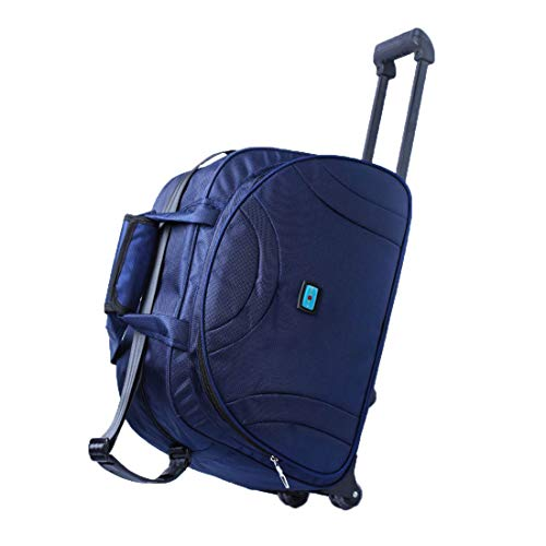 Attraction 55 Cabin Polyester Wheel Duffel Trolley (Navy Blue)