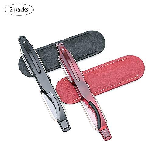 HHCC Rotierende Lesebrille Mini Portable Silikon Rutschfest Ultraleicht Ultraleicht Anti-Müdigkeit HD Faltbare Resin Metal Eyegbrillen für Frauen Männer wandern,+2.0 Hd-metal