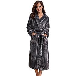 Aibrou Peignoir Femme Velours Robe de Chambre Polaire Femme Chaud Long Flanelle Peignoir de Bain Homme Eponge Hiver Longue pour Le Cadeau de Noël - Gris Foncé - EU 44-46 (Fabricant : L)