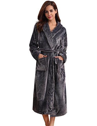 Aibrou pyjama femme polaire Robe chambre homme longue Hiver sortie de bain peignoir pas cher personnalisé Gris foncé EU40-42
