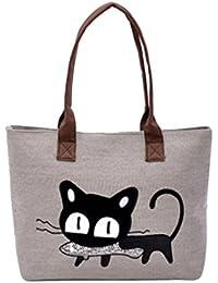 1cdfe4aec LuckES Moda Mujer Bolsa de hombro Lindo bolso de gato Bolsa de lona Oficina  Bolsa del