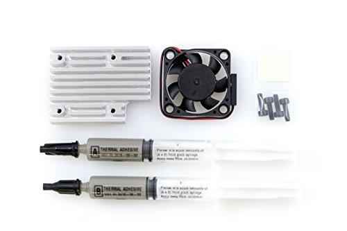 Techstatic High Performance Kühlkörper mit Active Kühlung für die Raspberry Pi 3B/Fan und Thermo-Klebstoff