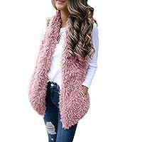 FRAUIT Dames mouwloze mantel faux bont vest nepbont lange bontvest mouwloos winterjas parka bont mantel herfst tops