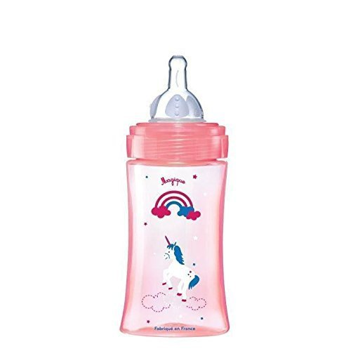 Dodie-Biberon-Initiation-270ml-ROSE-LICORNE-0-6-mois-ttine-ronde-3-vitesses-dbit-2