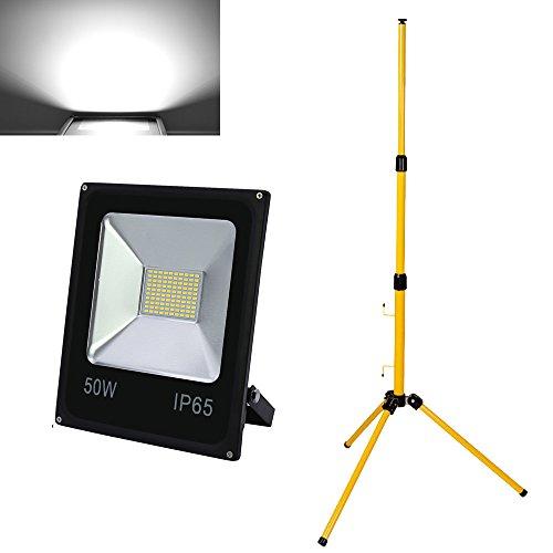 Hengda® LED Fluter SMD Flutlicht IP65 mit Teleskop-Stativ Outdoor Gelb Ständer Teleskop-Stativ (50W Kaltweiß +stativ)