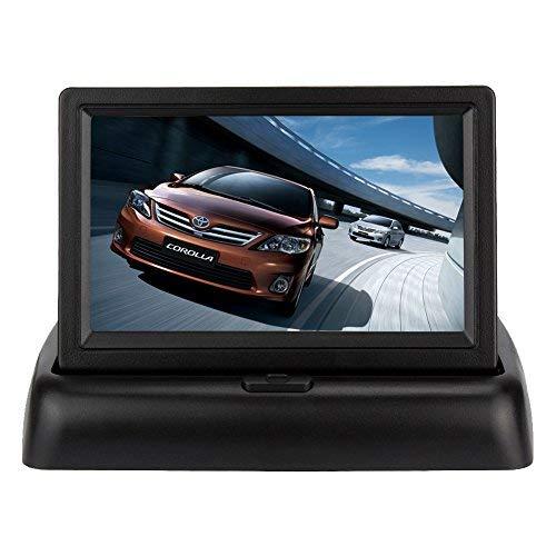 wzmirai pantalla Digital TFT LCD de 4,3 pulgadas coche plegable Monitor de visión trasera para coche marcha atrás Reverse Backup Parking cámara, CCTV DVD soporte de la cámara PAL/NTSC - Pantallas Autos