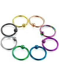 8 pcs piercing nez hoop anneau Septum nez captif perle piercing anneau boucles d'oreilles 16G-Fectas