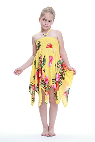Nia-gitano-Botn-desigual-Hawaiian-Luau-vestido-en-Amarillo-4