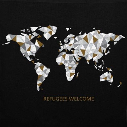 Spreadshirt Refugees Welcome Origami Welt Stoffbeutel Schwarz