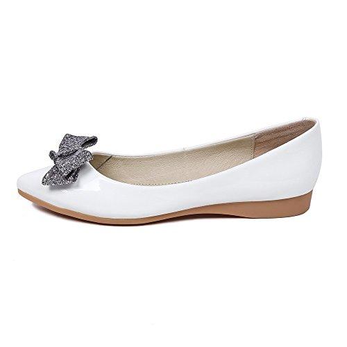 VogueZone009 Femme Pu Cuir à Talon Bas Pointu Couleur Unie Tire Chaussures Légeres Blanc