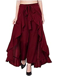 SBJ COLLECTIONS Women' Ruffle Pants Split High Waist Maxi Long Crepe Palazzo Overlay Pant Skirt
