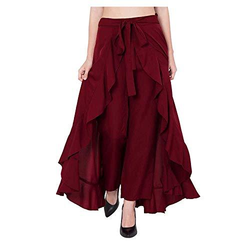 SBJ COLLECTIONS Women' Ruffle Pants Split High Waist Maxi Long Crepe Palazzo Overlay Pant Skirt (Maroon)