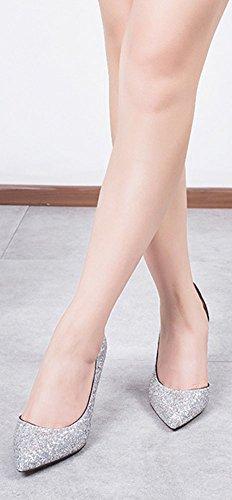 Wealsex Escarpins Paillettes Femme Sexy Talon Haute Aiguille Bout Pointu Chaussure Soirée Mariage Argent