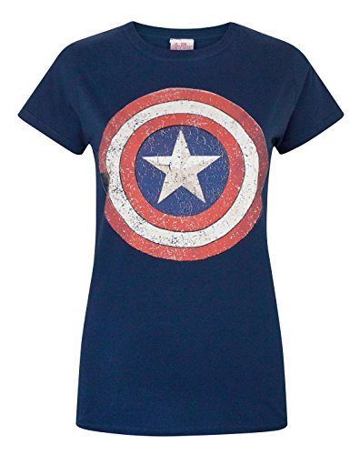 Damen - Official - Captain America - T-Shirt (S) (T-shirt America Captain T-shirt)