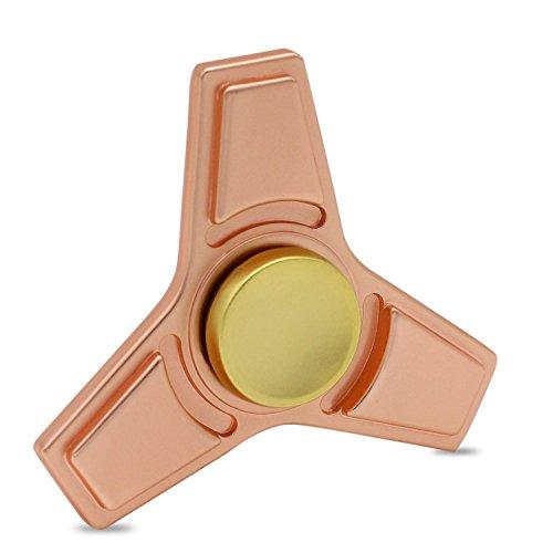 KONKY Finger Hand Spinner Legierung Fidget Fokus Spielzeug mit glatten Oberfläche Finish, Stress Reducer für Angst Relief, ADD, ADHD und Finger Training, Rosa