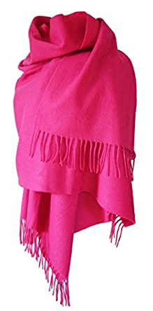 Echarpe étole chale en laine et cachemire grande épaisse et chaude (ROSE FUCHSIA)
