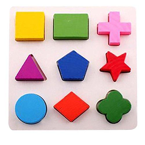 Elecenty Kinder Holzspielzeug Baby Holz Geometrie Bausteine Puzzle Früherziehung Pädagogisches Geometrie Baustein Puzzlespiel Frühes Lernen Pädagogisches Spielzeug (15cm, A)