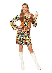 Bristol Novelty- Hippy/Mod Dress + Fringed Vest (S) Disfraz, Color multicolor. (AC730S)