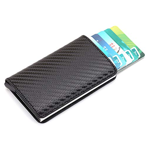 Features:1. Popped-up automatically designed: A push button on the side. Press the button so that the card comes out in stages automatically and sensitively, and easily chooses the card you need.2. Minimalist wallet: Credit card wallets are sturdy an...