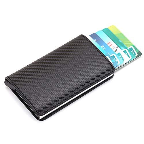 Remaxm Porta Carte di Credito antifurto Multifunzionale, Porta Carte di Credito in Alluminio, Portafoglio Carbon,Porta Carta Rigida con RFID Schermato & Automatico