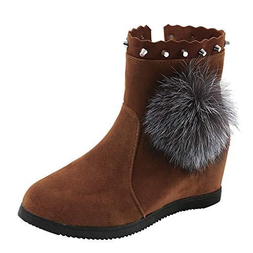 Botas Mujeres Ante Bola Ronda Toe cuñas Zapatos Mantener Caliente Deslizante Botas de Nieve Bota de otoño Invierno Cuadrado Botines Botas de tacón Alto Mujer Cuña Interior Botas Plisadas (36.5 EU, B)