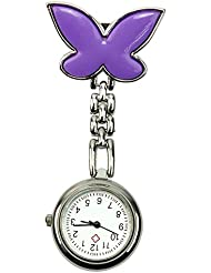 Lindo Púrpura Mariposa Metal Reloj Bolsillo de Enfermera Clip-on Pocket Watch