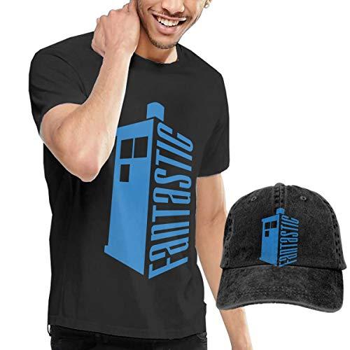 Knitkee Doctor Who Fantastic Tardis Herren Komfortabel T-Shirt and Hüte Kombination Black 3XL (Tardis Kostüm Hoodie)