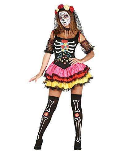 Day of the Dead Kostüm mit Haarreif und Armstulpen für Deinen Auftritt am Tag der Toten (Kostüm Braut Skull Sugar)