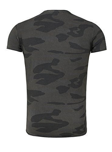 Carisma Herren T-Shirt CALLELA Slim Fit Schnitt Camouflage Look mit Patches Army Totenkopf Anthrazit