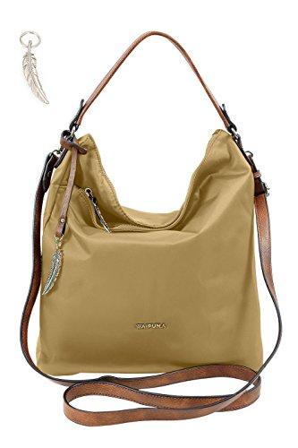 Shoppertasche von Waipuna aus hochwertigem Nylon, Shopper mit Schlüsselanhänger, Handtasche mit schönen, braunen PU-Leder Details, weinrot camel / camel