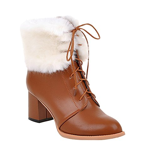 Mee Shoes Damen warm gef眉ttert Flaum chunky heels Schn眉rsenkel Stiefel Braun