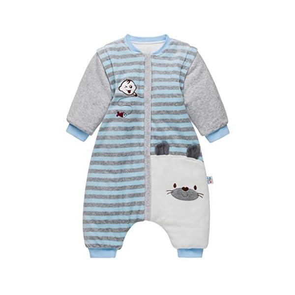 Saco de dormir para bebé con pies, bebé bolsa de dormir mangas extraíbles y Piernas separadas invierno saco…