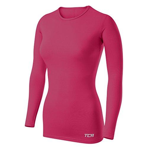 TCA SuperThermal Base Layer Damen Laufshirt Langarm Funktionsshirt - Rosa, S