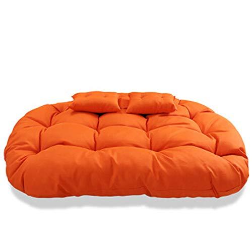 LRXHGOD Stuhlkissen Wicker Rattan Egg Chair Pads Schaukelsitz Pad Thick Nest Stuhl rutschfeste Rückenlehne mit Kissen,Orange,1400x1000mm