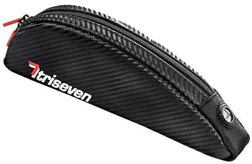 TriSeven Carbon Radfahren Rahmen Tasche Aero 30*Fernstraße Triathlon Tasche* MTB Tasche*Oberrohrtasche*Fahrrad Zubehör*10 Gele,Smartphone,iPnonePlus,Brieftasche*4 Straps oder 2 Schrauben* (schwarz)