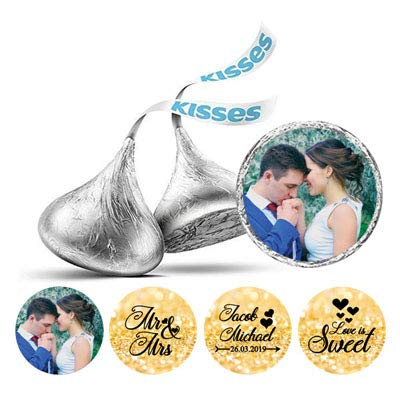 sonalisierte Liebe ist süße Hochzeits-Foto-Aufkleber Küsse Süßigkeit Etiketten DIY-Flitter Gold ()