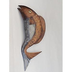 KLP Wanddeko Metall Fisch Zierfisch Wandbild Deko Maritim Garten Figur Skulptur