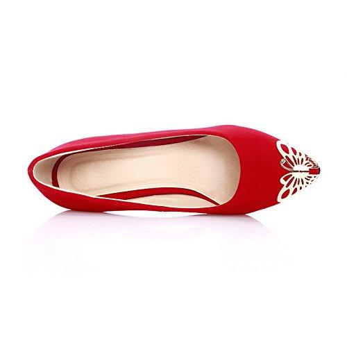 VogueZone009 Damen Spitz Zehe Hoher Absatz Mattglasbirne Eingelegt Ziehen Auf Pumps Schuhe Rot