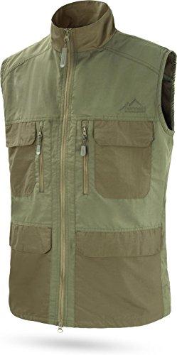 normani Herren Outdoor Sport Weste mit vielen Taschen für Freizeit, Angeln, Jagd oder Safari Tour [XS-5XL] Farbe Oliv Größe XL