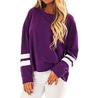 TEELONG Bluse Damen Mode lässig gestreiften Oansatz Langarm Sweatshirts Shirts TopsSweatshirt Longpullover Pulli Strickpullover Winterjacke Kapuze