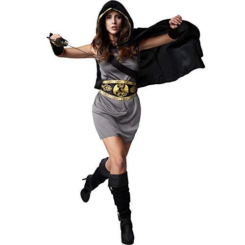 Jägerin Kostüm Kapuzen - dressforfun 900550 - Damenkostüm flinke Jägerin, Knielanges Kleid inkl. Umhang mit Kapuze und Armstulpen (XXL   Nr. 302532)
