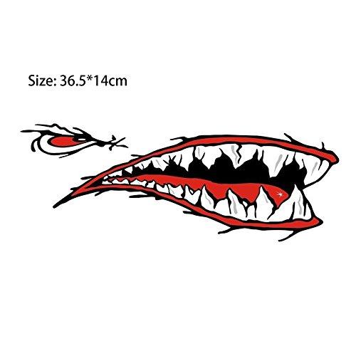 2 teile / satz Moderne Wasserdichte Haifisch Zähne Mund PVC Aufkleber Decals für Angeln Ozean Boot Kanu Schlauchboot Zubehör