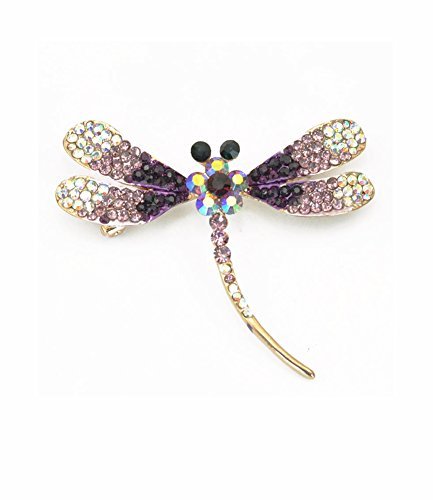 DRAGONFLY BROOCH AMETHYST COLORED SWAROVSKI ELEMENTS CRYSTAL INSECT JEWELRY BROOCH PIN FOR WOMEN