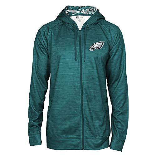 Zubaz NFL Male Kapuzenpullover mit durchgehendem Reißverschluss, Camouflagemuster, Herren, NFL Full Zip Camo Space Dye Hoodie, Pine Needle Green, X-Large - Green X-large Camo
