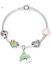 7c7a4e5407ef GSYDSZ Brazalete y Brazalete de Plata Femenina con Encanto con Colgante de Arco  Iris Charms