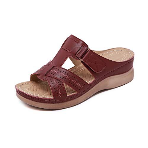 ZAPZEAL Ladies Sandals Wedge Heel Open Toe Flip Flops for Summer Causal Daily Wear with Adjustable Buckle Size 3-10 UK