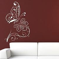 Delicate Farfalla Outline Wall Sticker Natura Adesivo Art disponibile in 5 dimensioni e 25 colori Grande Verde foglia
