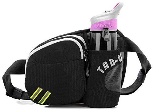 Unisex Wasserdichte Gürteltasche Hüfttasche Bunte Brust-Beutel Beiläufige Beutel mit Wasserflaschenhalter - Rose rot Schwarz