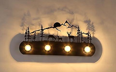 FSLiving Decorative Wall Light Home Decor Four Light Vanity Strip Mirror Light Landscape Mount Deer Decoration (Bulbs Not Included)